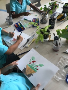 Watercolour painting of plants in our classroom: Connected to our Life Systems unit